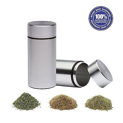 2X 1/4th Stash Jars - Aluminum Herb Airtight Smell Proof Container (Silver)