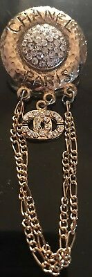Gold Tone Chanel Dangle Rhinestone Pin