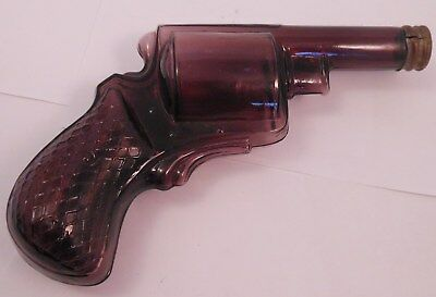 Antique Blown Amethyst Glass Gun Flask With Ground Neck and tin cap