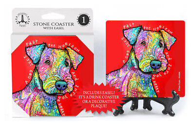 Airedale A Dog Sees Past The Horizon And Into Your Dog Dean Russo Drink Coaster