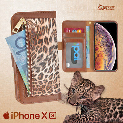 Leopard Zip Wallet Bag ID Card Flip Leather Case Cover For iPhone XR / iPhone Xs