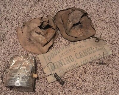 1890's Miners Mining Candle Holder Lamp Hat Box Lot Mine Lighting Cool!