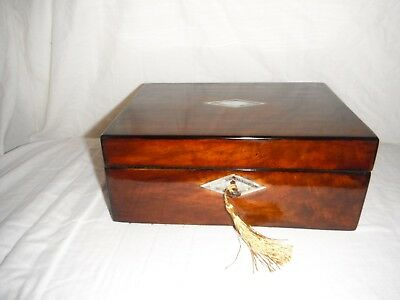 Antique Victorian Walnut box inlaid mother of pearl abalone
