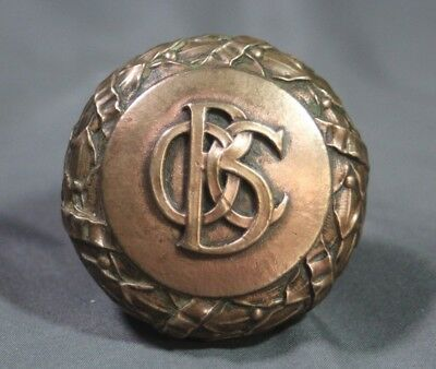 """Antique Old Colony Building Monogrammed Cast Brass 2.25"""" Yale & Towne Door Knob"""