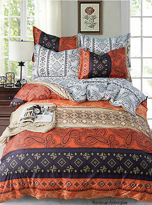 Moroccan Amberglow Paisley Style Luxury Duvet Covers Reversible Bedding Sets MS