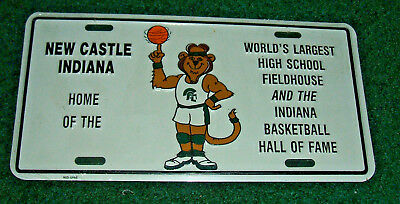 NEW CASTLE INDIANA  BASKETBALL LICENSE PLATE, BRAND NEW IN PLASTIC - Aluminum