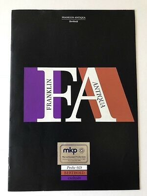 Franklin Antiqua, Type Specimen Book, Berthold Probe 019, 16 pgs w/ cvrs, 1980s