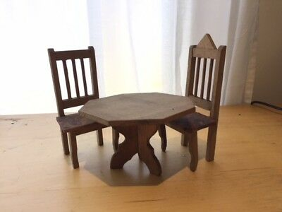 Antique Vintage Dolls House Table and Chairs Set