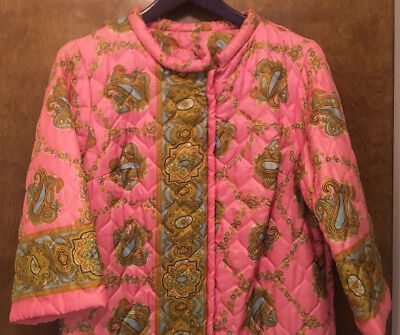 Vtg Quilted Acetate Robe Dressing Gown House Coat Pink Green Paisley Print Sz 18