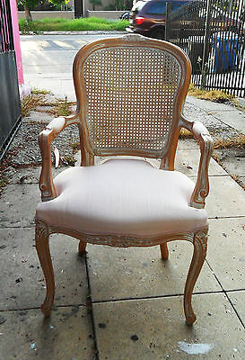French Vintage Upholstered CHAIR ARMCHAIR Wickerwork on Back, Ceruse Carved Wood