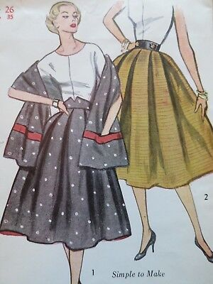 Simplicity #3798 Vintage 1950s 50s skirt + STOLE w/pockets! pattern 26 waist UC