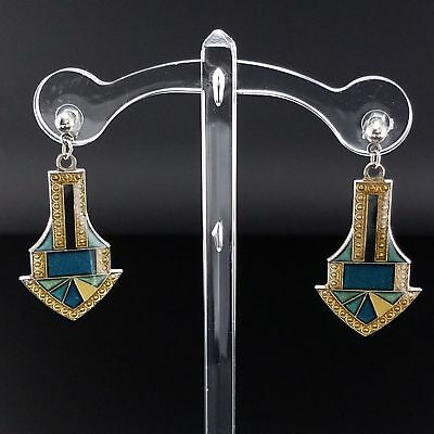 Vintage Art Deco Style Cloisonne Enamel Earrings Post Backs Estate Jewelry