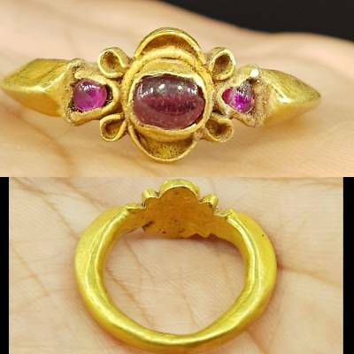 Roman Antique 22k karat Gold Beautiful Ring with Ruby Stone  # 5H