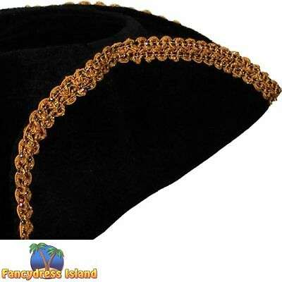 DISTRESSED BLACK BUCCANEER PIRATE HAT Unisex Fancy Dress Costume Accessory