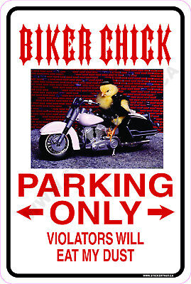 "Biker Chick Parking Only Humor 9/"" x 12/"" Metal Novelty Parking Sign"