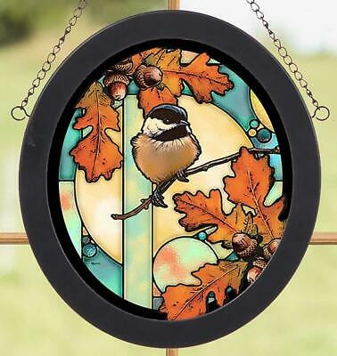 Chickadee  Stained Glass Art by Rosemary Millette