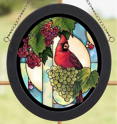 Cardinal Grape Vine Stained Glass Art by Rosemary Millette