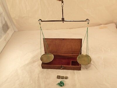1800's Boxed Travelling Gold or Apothecary Beam Pan Scale Balance & Weights