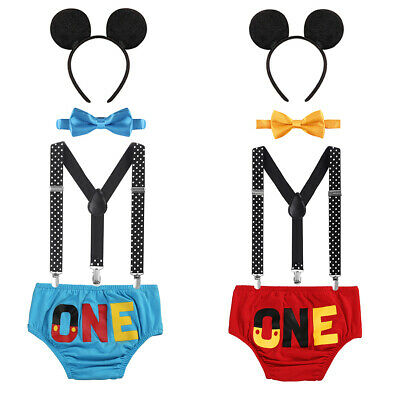 Baby Cake Mickey Mouse Smash Costume Boys 1st Birthday Suspenders Bottom Outfits