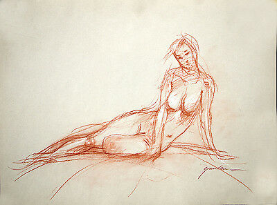 Female Nude Life Drawing by Keith Gunderson