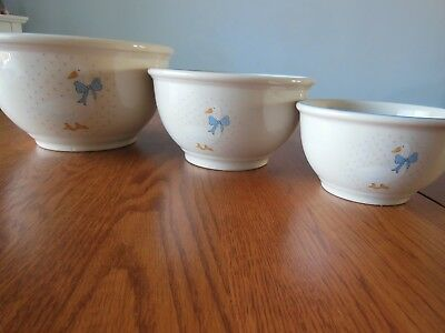 Vintage Matching Stoneware Bowls Duck Decor - SET OF 3 - Mixing Bowls