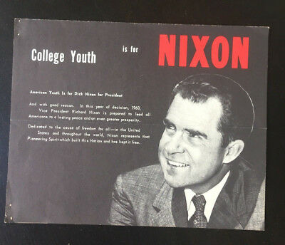 """""""Nixon Is For College Youth"""" Poster Dick Nixon Presidential Candidate"""