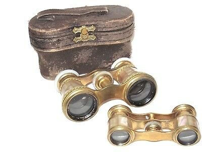 Antique French Lefils & Rare Trianon Mother Pearl Brass Opera Glasses Binoculars