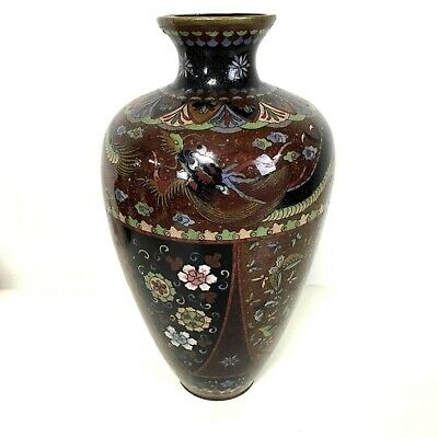 Fine Large Antique Japanese Meiji Period Cloisonne Vase 12""