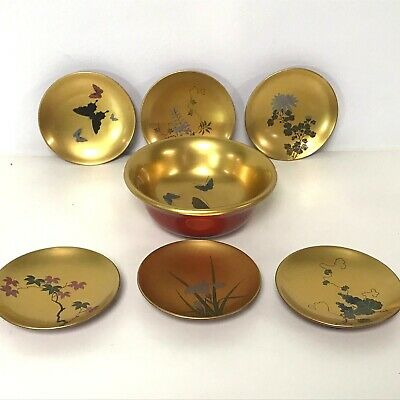 Japanese Lacquereware Wooden Ware Gild Color  Decorated Nut 7 piece set