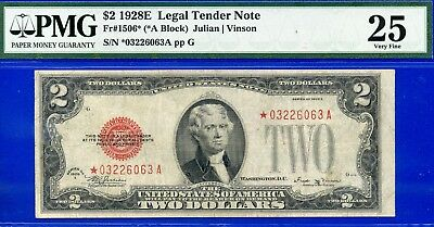 *Crazy Rare FR-1506* 1928-E $2 US Note (( STAR )) PMG Very-Fine 25 # *03226063A