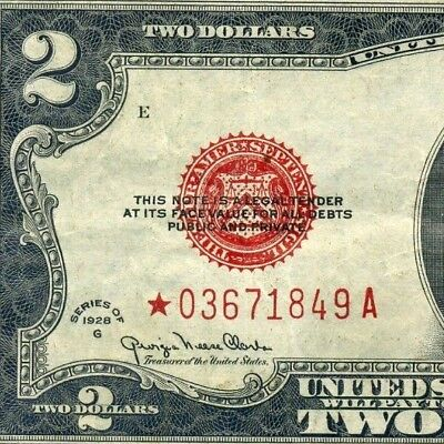 *Rare FR-1508* 1928-G $2 US Note (( STAR )) # *03671849A