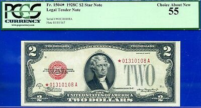*Rare FR-1504* 1928-C $2 US Note PCGS Choice-About-New 55 # *01310108A