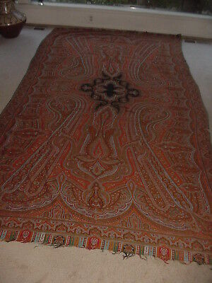 Huge 11 Ft Antique Persian Paisley Grand Victorian Coverlet Throw Textile