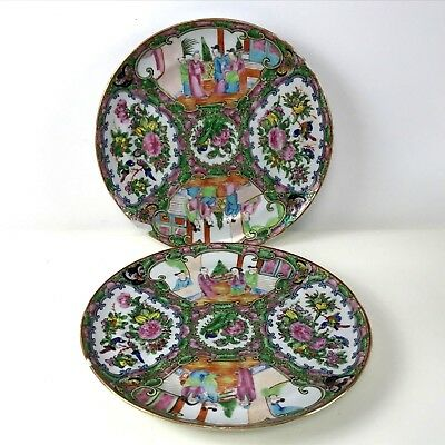 Pair of Republican Period Chinese Porcelain Rose Medallion Dinner Plates 9.75""