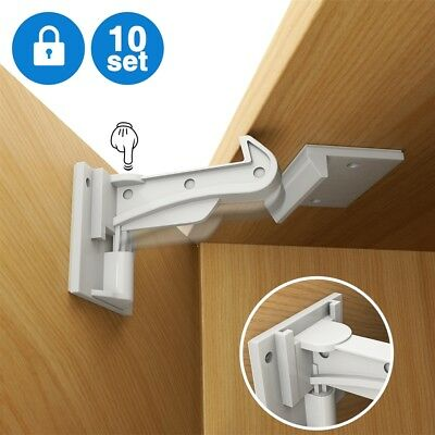 10PCS Safety Drawer Cupboard Locks for Baby kids Child Proof Cabinet Latches