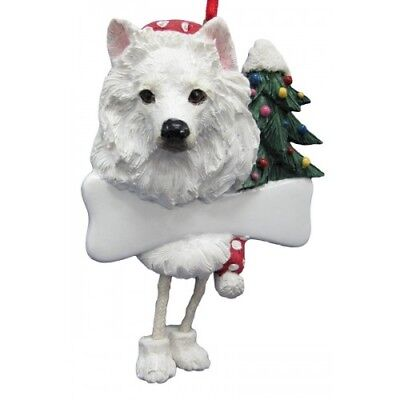 American Eskimo Dangling Wobbly Leg Dog Bone Christmas Ornament
