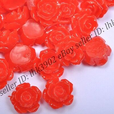 20 Pcs Gorgeous Red Rose Flower Coral Spacer Beads 10MM