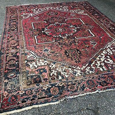 """Antique Persian Heriz Hand Made Worn Faded Room Size Tribal Rug  9' x 11' 11"""""""