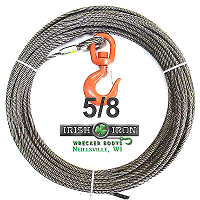 "5/8"" X 250' Steel Core,Winch Cable.Wire Rope With Swivel Hook.Wrecker,Rollback."