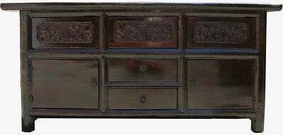 Chinese Antique Furniture - Carved Elm Wood Sideboard Buffet (33-039)