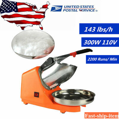 Electric Ice Shaver Machine Snow Cone Maker 143lbs Ice Crusher Shaving 300W USA