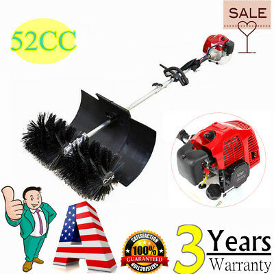 52Cc Gas Power Sweeper Hand Held Broom Dirt Cleaning Driveway Turf Grass Us Sale