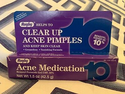 Rugby Acne Gel Benzoyl Peroxide 10% 1.5oz Tube -Expiration Date 10/2019