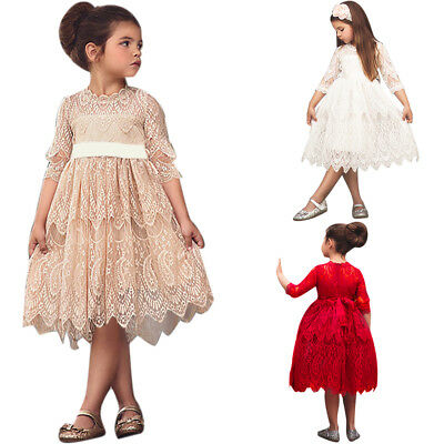 Lace Dress for Girls Wedding Bridesmaid Party Pageant 3/4 Sleeve Country Dresses