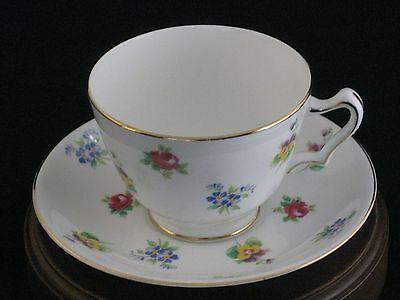 Vintage Crown Staffordshire Floral Porcelain Tea Cup & Saucer Made in England