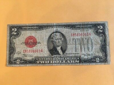 Series 1928 D $2 Two Dollars United States Legal Tender Red Seal Note