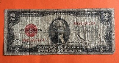 1928F $2 Dollar Bill Old Us Note Legal Tender Paper Money Currency Red Seal