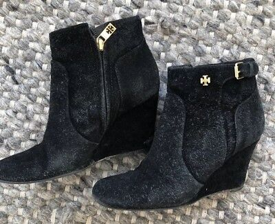 Tory Burch Milan Black Suede Wedge Bootie  Size 6