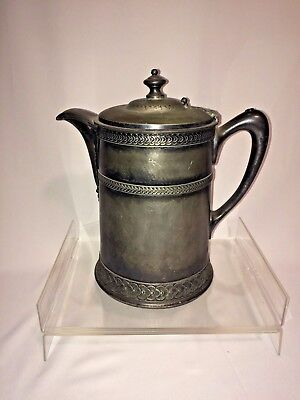 Antique Water Pitcher Meriden Silverplate Large Circa 1868 Porcelain Lined