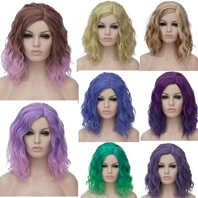 35cm Women Synthetic Ombre Wig Wavy Short Curly Bob Hair Cosplay Anime Wig UK